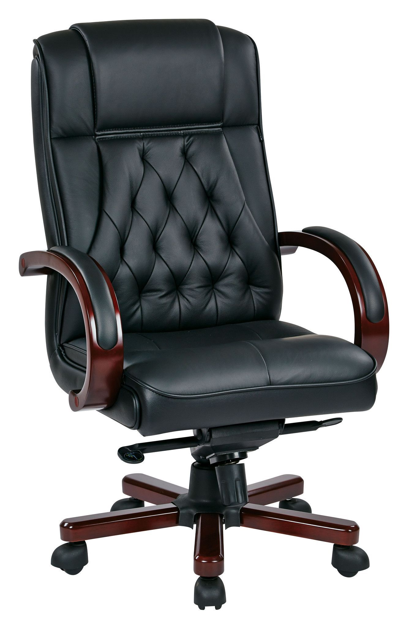 Office Star Leather Executive Chair with Royal Cherry Base