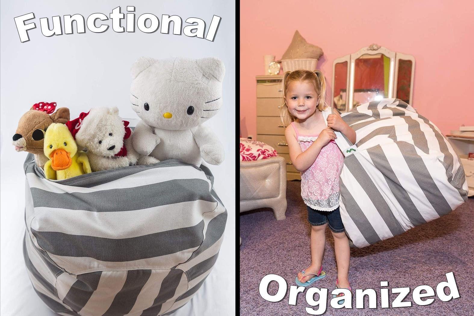 Best Stuffed Animal Storage Bean Bag Chair Premium Cotton Canvas Toy Organizer For Kids Bedroom Perfe Bean Bag Chair Bean Bag Chair Kids Stuffed Animal Storage