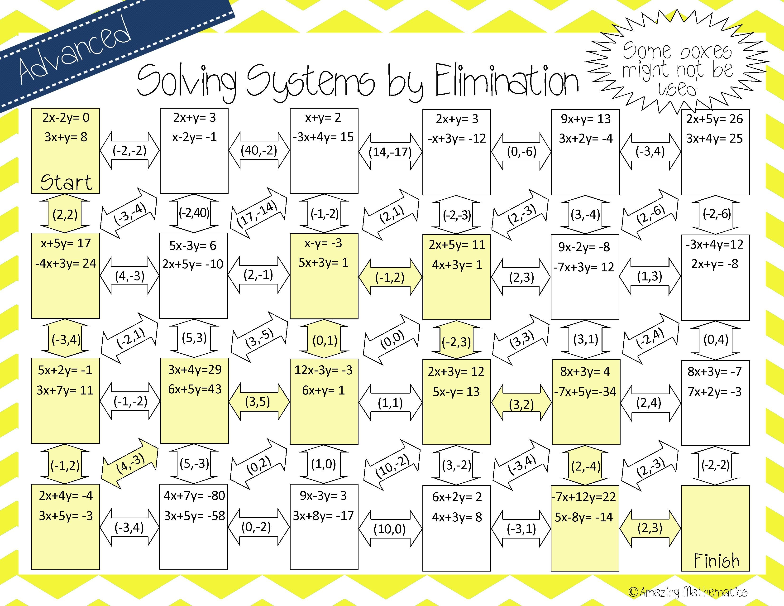 worksheet Systems Of Equations By Substitution Worksheet 1000 images about systems of linear equations on pinterest math this self checking maze has 23 designed to be solved by elimination