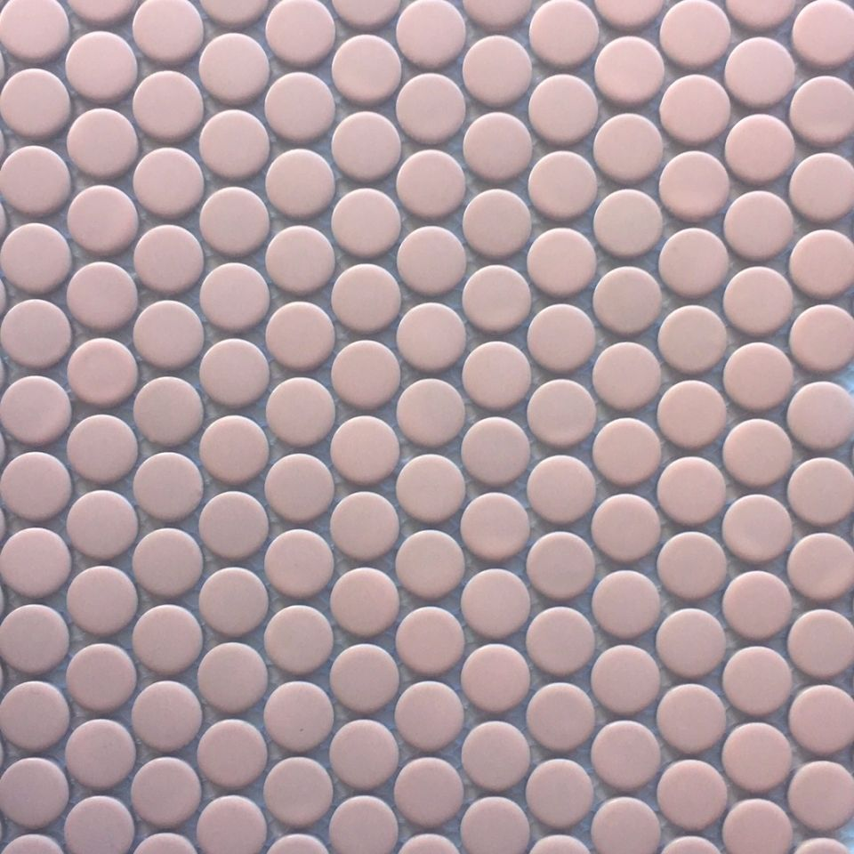 light pink penny round mosaic tile for