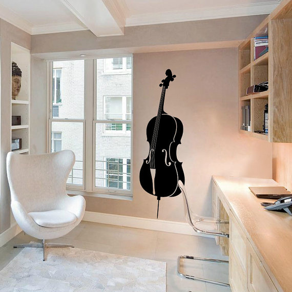 Violin Cello Wall Decal Cute Vinyl Sticker Home Arts by piksyprint, $5.90