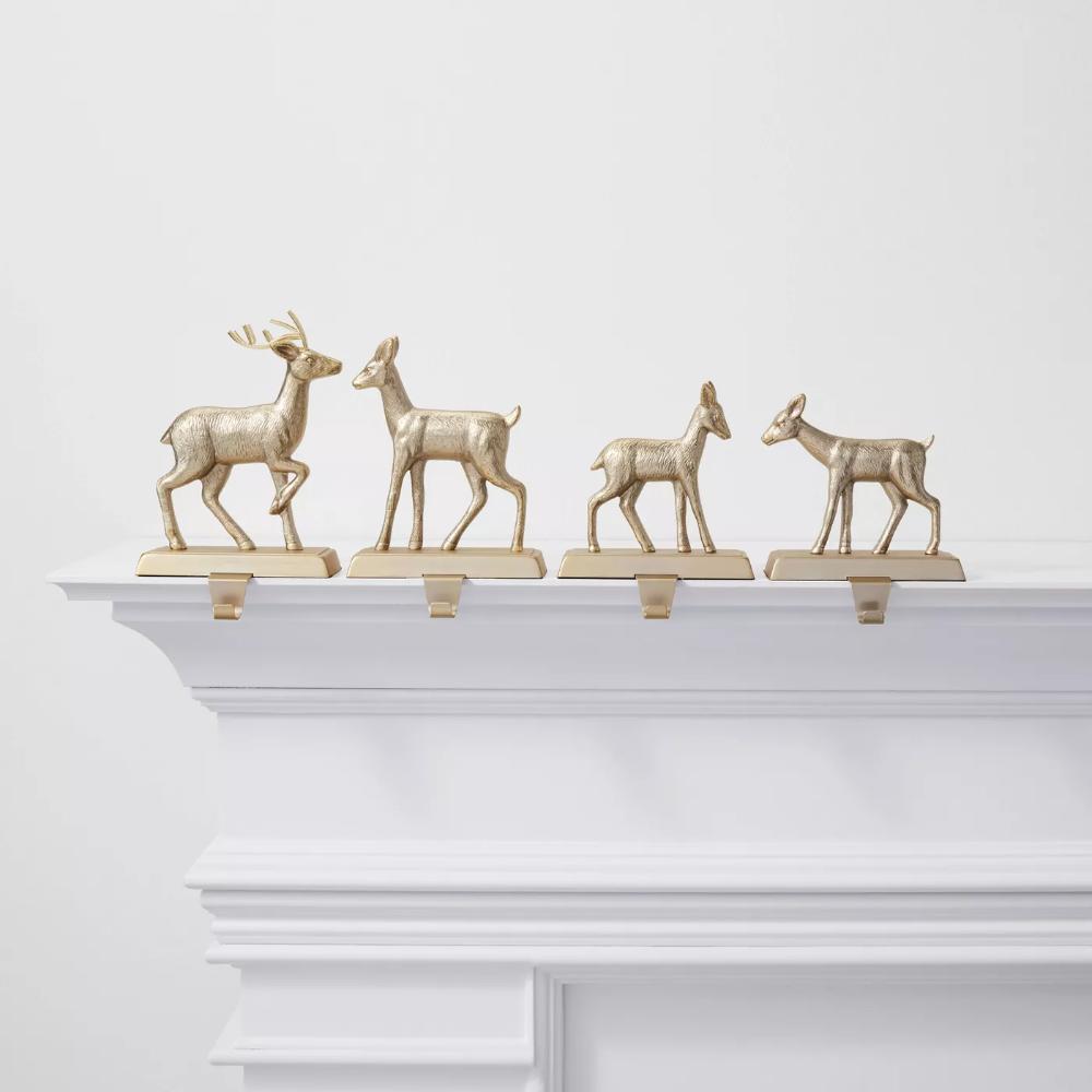 4pk Metal Deer Christmas Stocking Holder Brushed Brass
