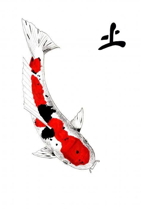 Japanese Koi Sanke Feng Shui Earth Art Print By Gordon Lavender Koi Fish Drawing Koi Painting Koi Art