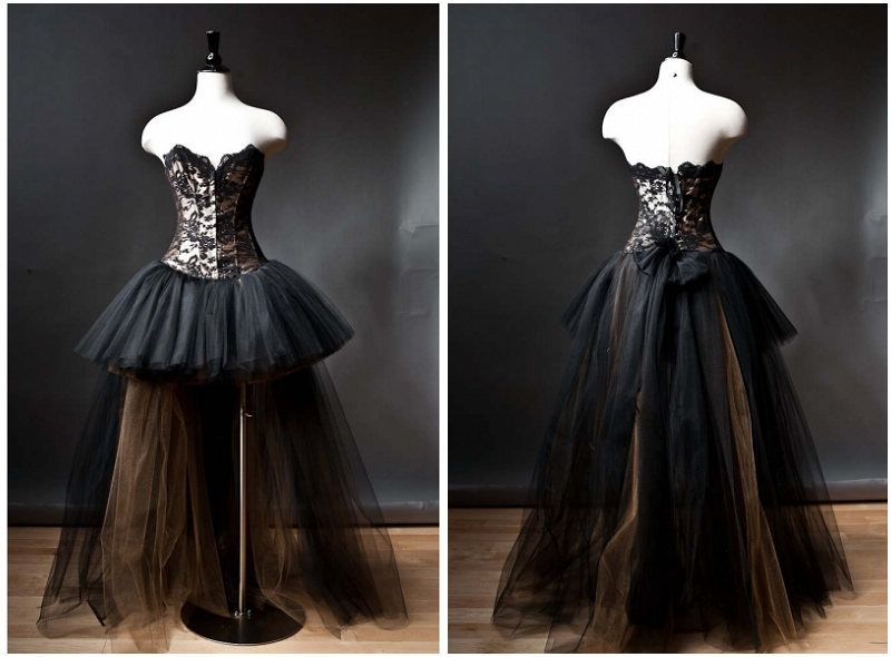 black romantic gothic corset high low prom dress by devilnightuk ...