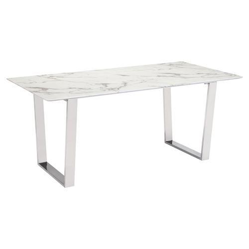 Audrey Modern Regency White Stone Silver Stainless Steel Rectangular Dining Table Marble Dining Dining Table Marble Faux Marble Dining Table