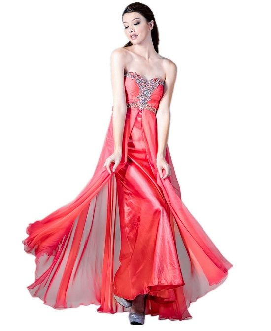 Strapless corset beaded coral long prom dresses under 200$ | All ...