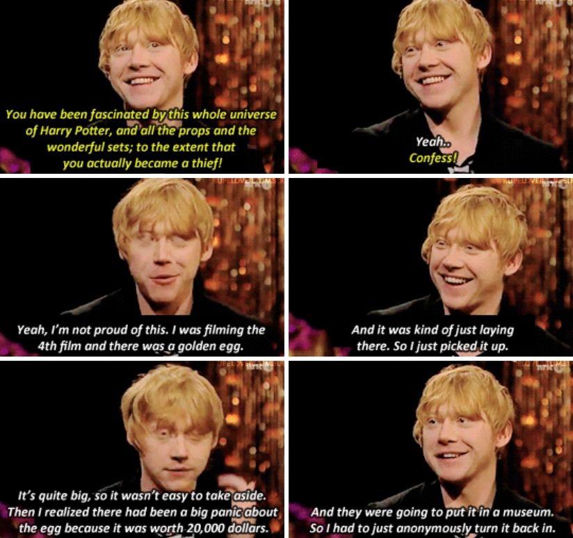 Rupert Grint Harry Potter Funny Harry Potter Facts Harry Potter Jokes
