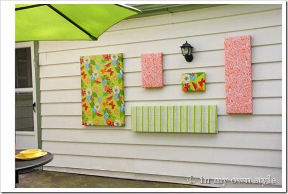 DIY Outdoor Wall Art Using Vinyl Tablecloths.