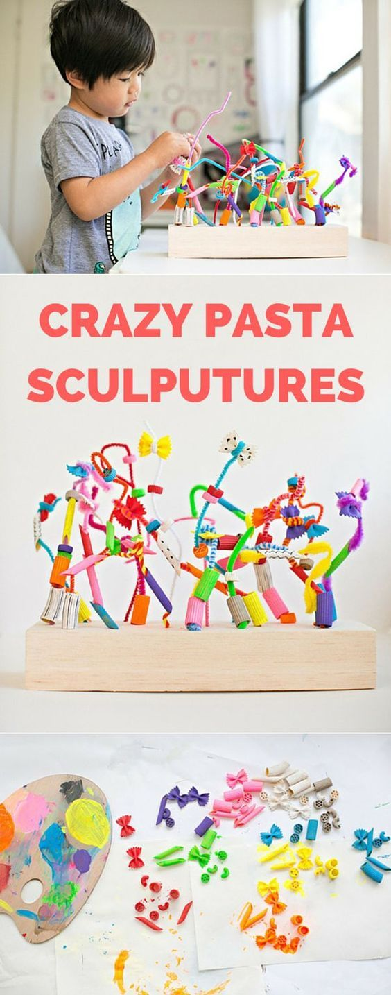 MAKE CRAZY PASTA SCULPTURES - Toddler art, Kids art projects, Art for kids, Art classroom, Kindergarten art, Preschool art - MAKE CRAZY PASTA SCULPTURES