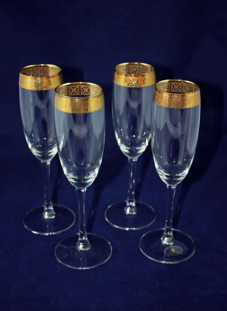 Champagne Flutes Gold Trim J Preziosi