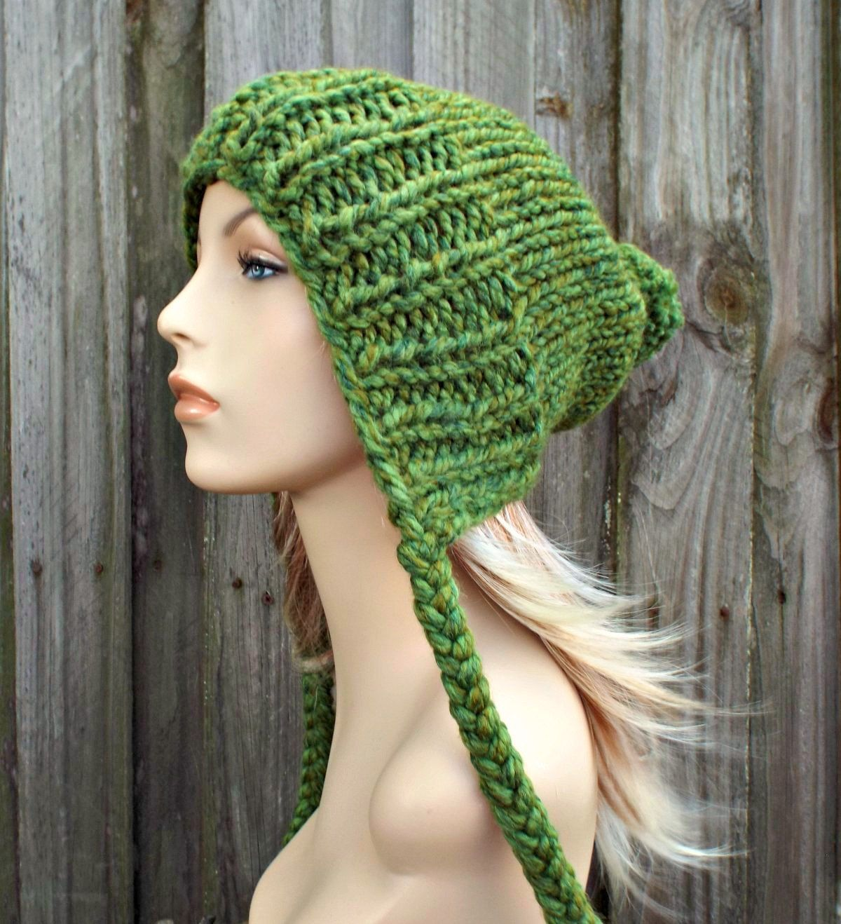 7ea5c743424 Green Slouchy Hat Womens Hat - Green Hat Green Beanie Green Slouchy Beanie  - Charlotte Slouchy Ear Flap Hat - READY TO SHIP by pixiebell on Etsy
