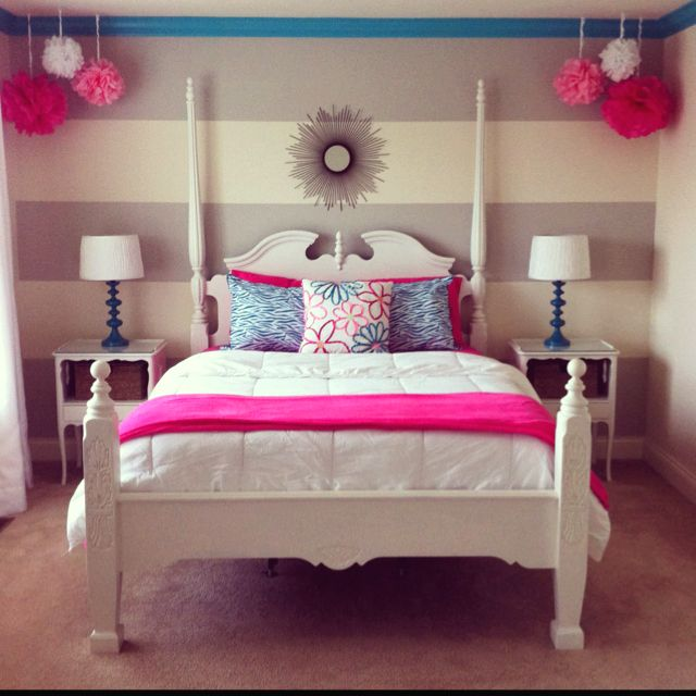 Great Idea For A Girlu0027s Room. Grey With A Bright Color Always Looks Goodu2026
