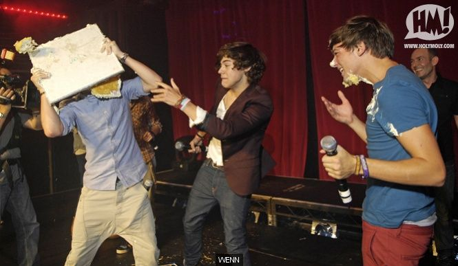 One Direction perform for Niall's birthday, have an onstage cake fight, Harry falls over | Celebrity Pictures | Holy Moly!