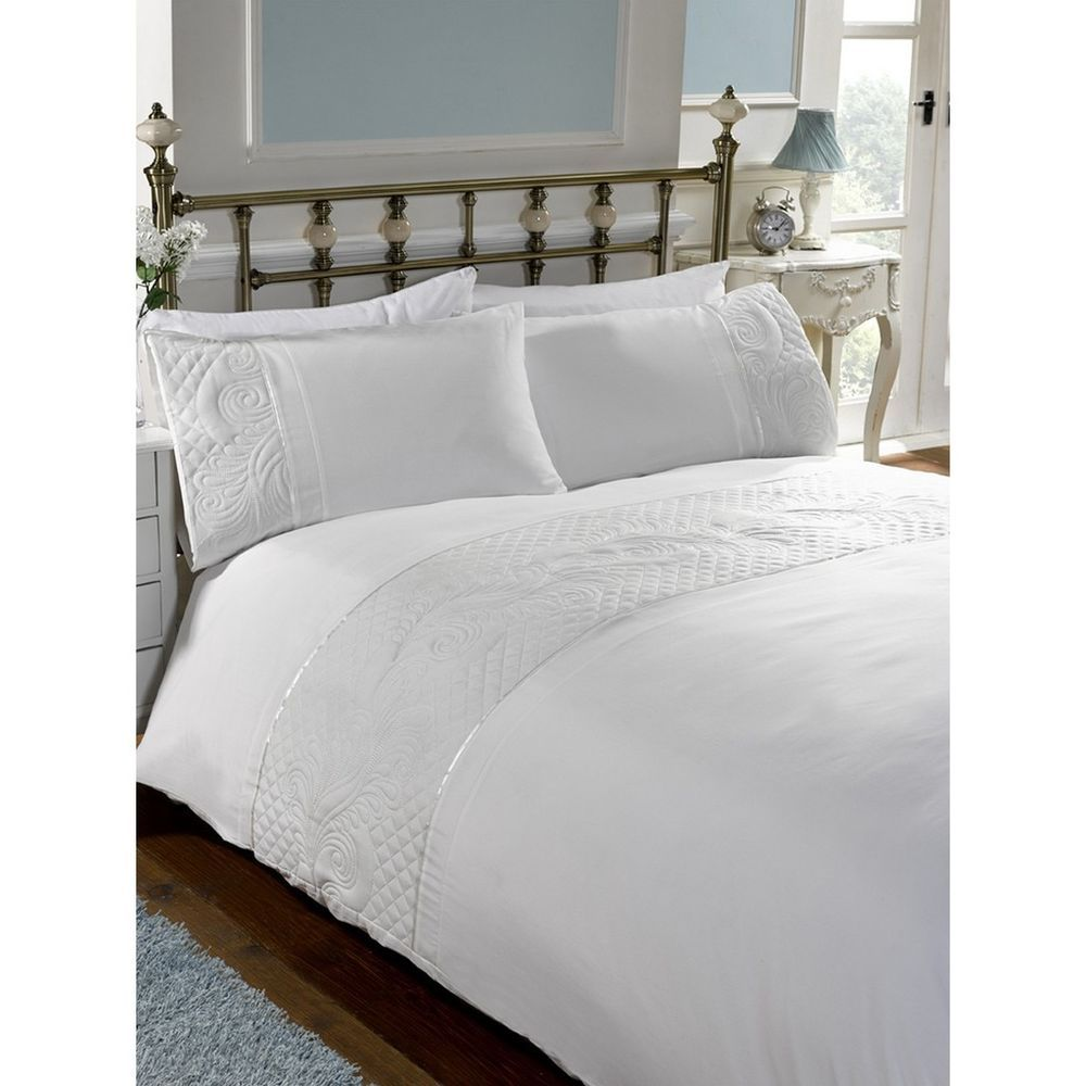 Sasha White Elegant Quilted Embroidered Duvet Cover Bedding Set