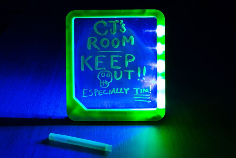 Buy LED Neon Light Message Board UK deal for just £2.99 £2.99 instead of £10.99 for an an LED neon-light message board with a flick-stand and marker pen from Ckent Ltd - save 73% BUY NOW for just £2.99