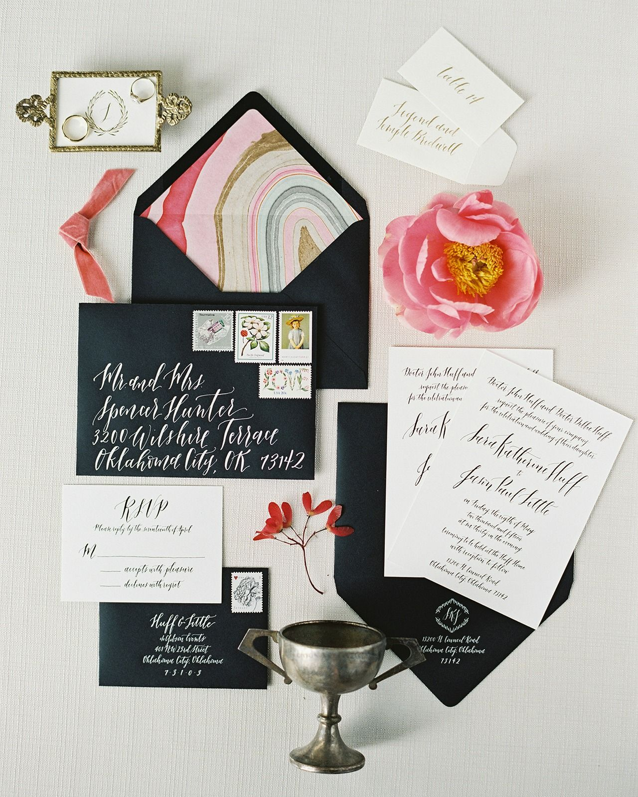 how many stamps do i need for my wedding invitations%0A Black and White Foil Stamp Calligraphy Wedding Invitations
