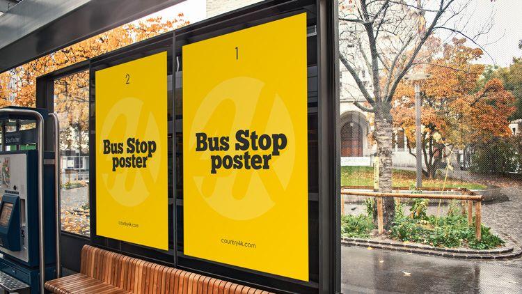 Free Bus Stop Poster Psd Mockup In 4k Download In 2020 Mockup