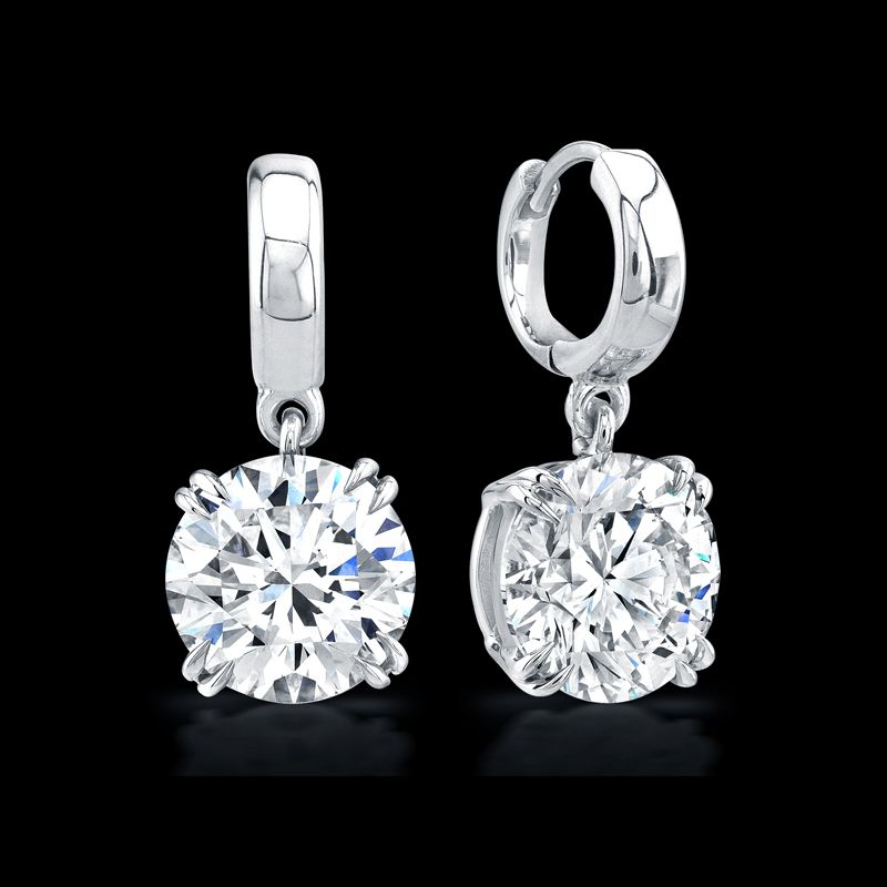 Round Brilliant Diamond Drop Earrings @Kim Gustafson