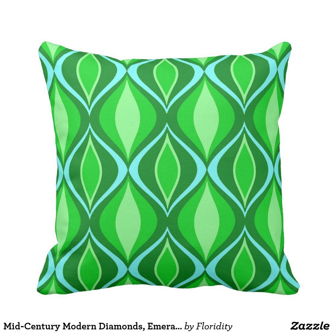 Midcentury modern diamonds emerald green throw cushion cushions