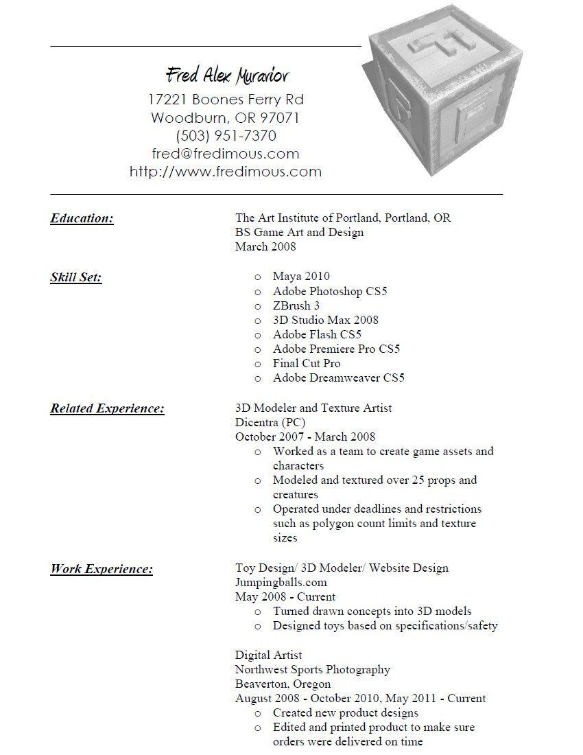 Resume Format 3d Artist Resume Templates Artist Resume Resume Format Graphic Design Resume
