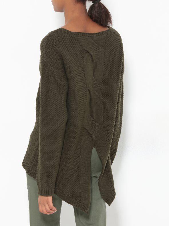 Jersey manga larga mujer tricot con trenza en la espalda | Pinterest ...