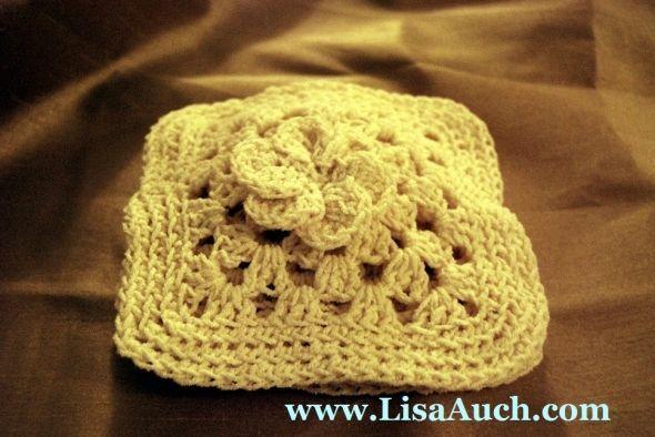 Granny Square with flower - Crochet flower-crochet flower pillow-free crochet pattern