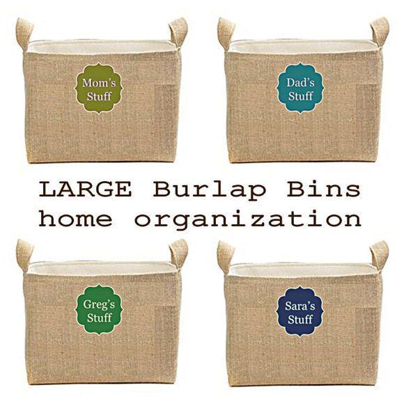Burlap Storage Bins Large Square Burlap Bins by ColorStyleDesign
