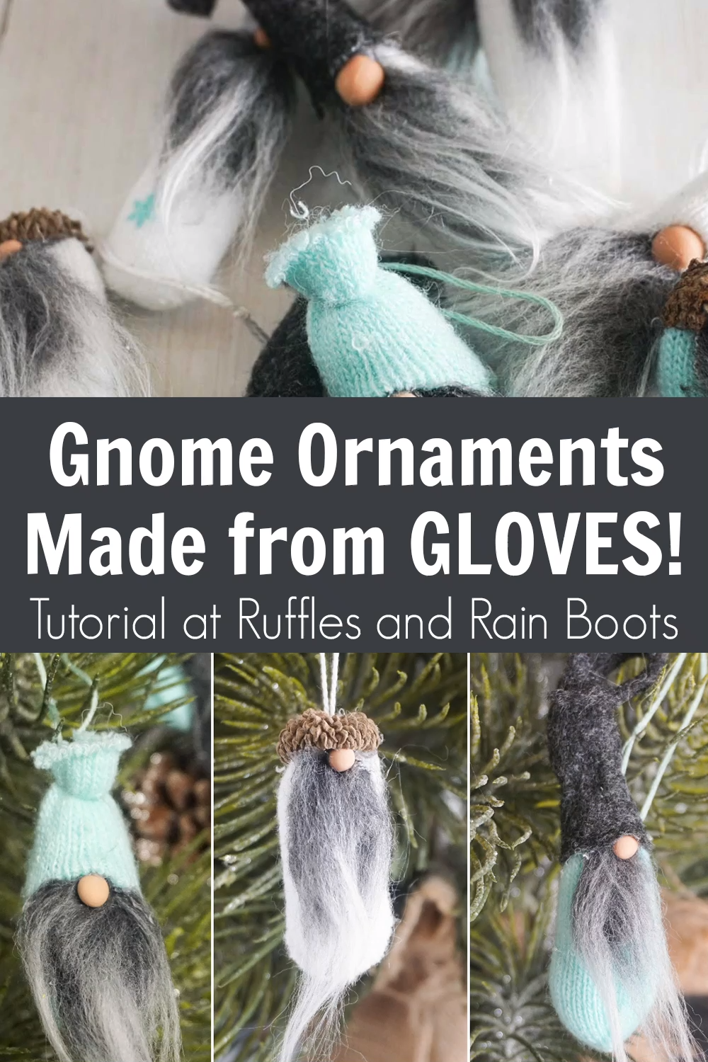 These adorable gnome ornaments are made from t he fingers of gloves! I know, right?! How amazing is this Christmas ornament craft - it is definitely fun and unique. Click through to make the cutest gnome ornaments for the holidays. #gnome #diygnome #christmasgnome #rufflesandrainboots