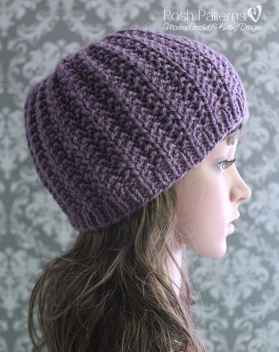 Knitting Pattern Easy Ribbed Hat Beanie Knit Hat By Poshpatterns