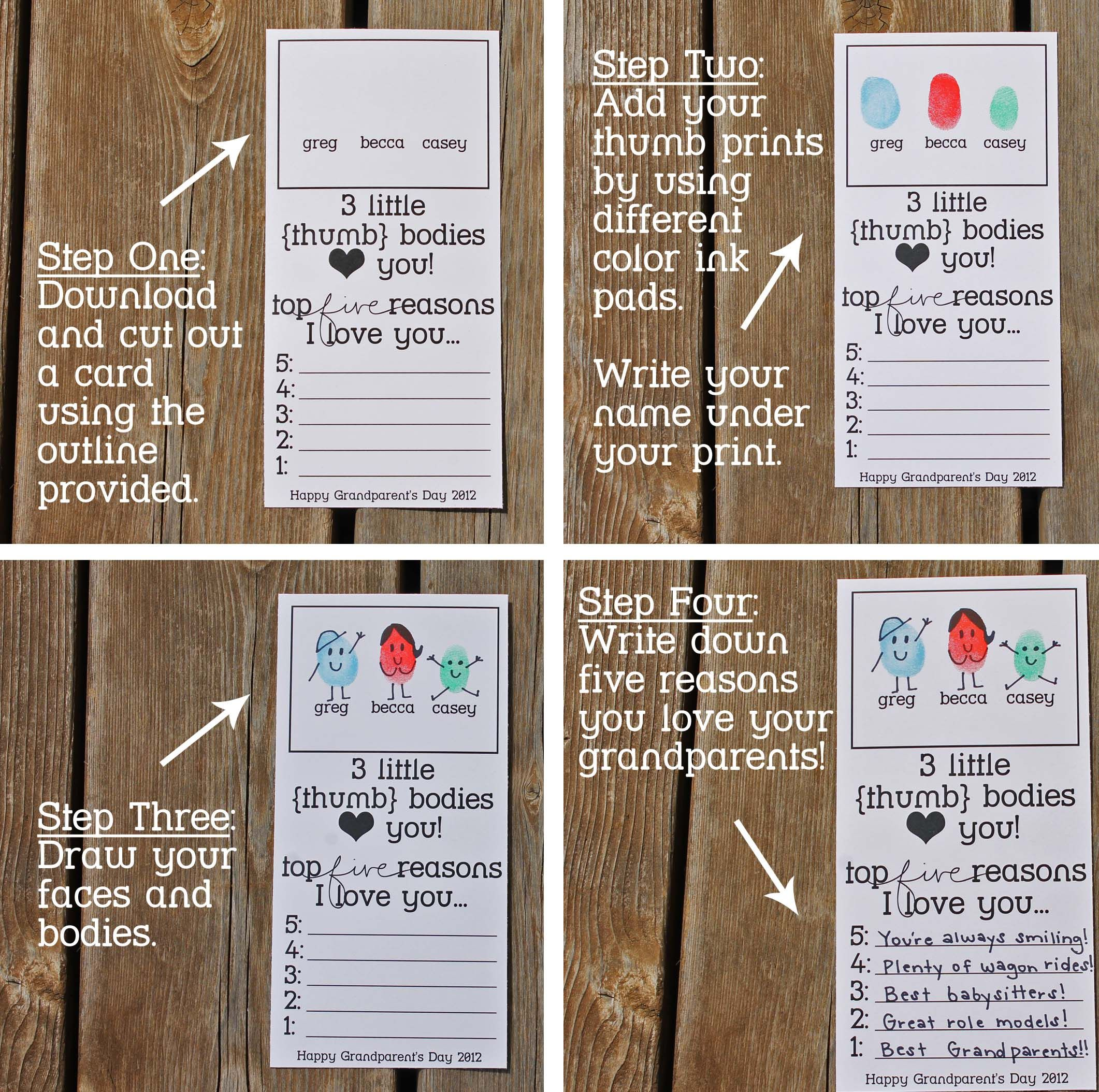 Printable Grandparents Day Thumbprint Cards! Just Add Your