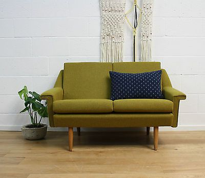 Midcentury Danish Refurbished Vintage Two Seater Sofa 60s Bute Fabric