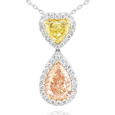 A guide for fancy color diamond pendants pearl necklace diamond 152 carat fancy yellow diamond heart and fancy light pink diamond pear necklace mozeypictures Images