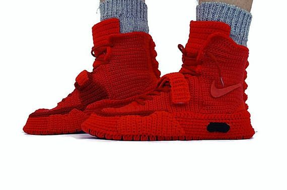 8bea0a17ffe3 Crochet Nike Air Yeezy 2 Red October Nike Air Yeezy 2 Knitted