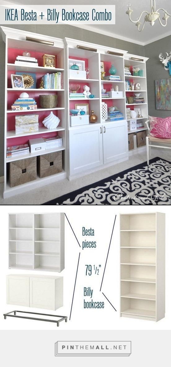 DYI bookcase made from Ikea pieces.