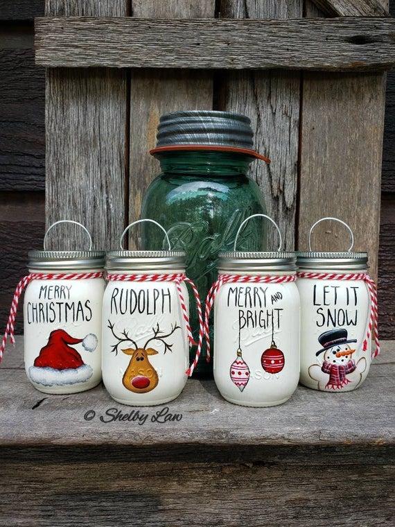 Mini Ball Mason Jar Ornaments #masonjardiy