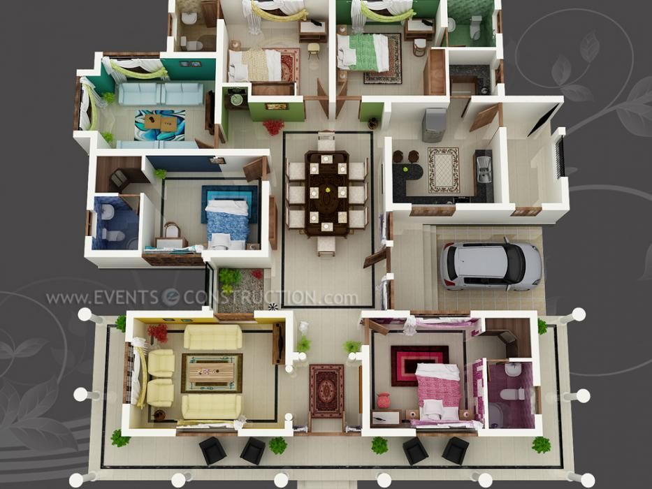 Big house with colour coded rooms 4 bed 4 bath sims House plan 3d view