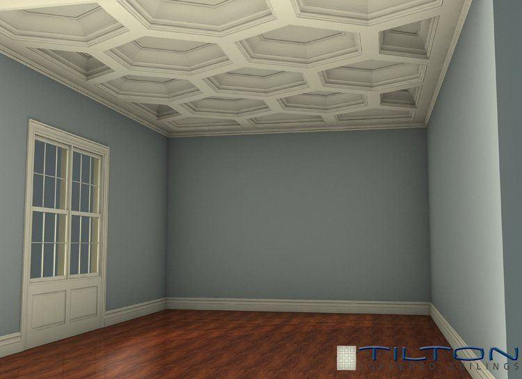 Hexagonal coffered ceiling geometric pinterest for Square room design