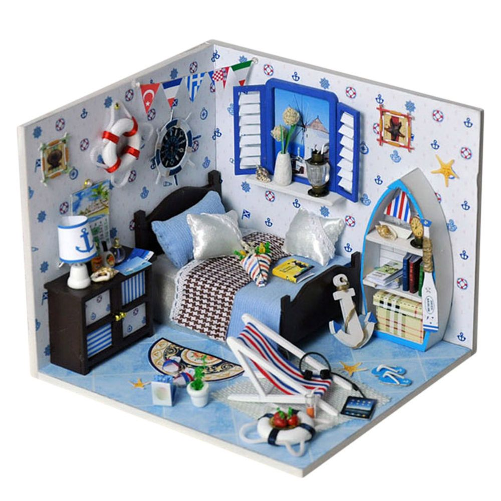 New DIY Romantic Summer Doll House LED Dollhouse Cabin