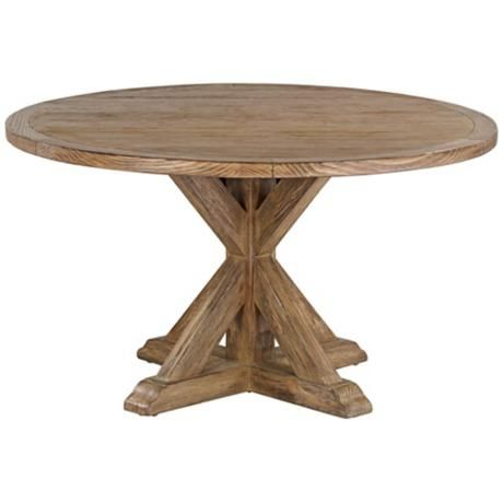 """Simone 54"""" Round Reclaimed Wood Top Dining Table"""