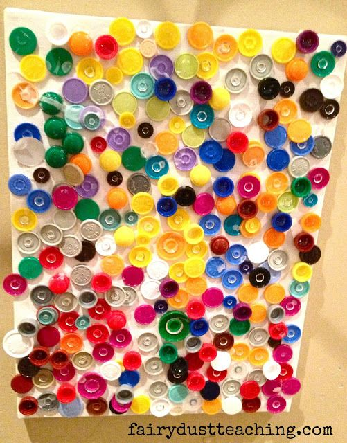 Ask parents to donate botte caps and or buttons and create a collarborative art project - Cap bagno reggio emilia ...