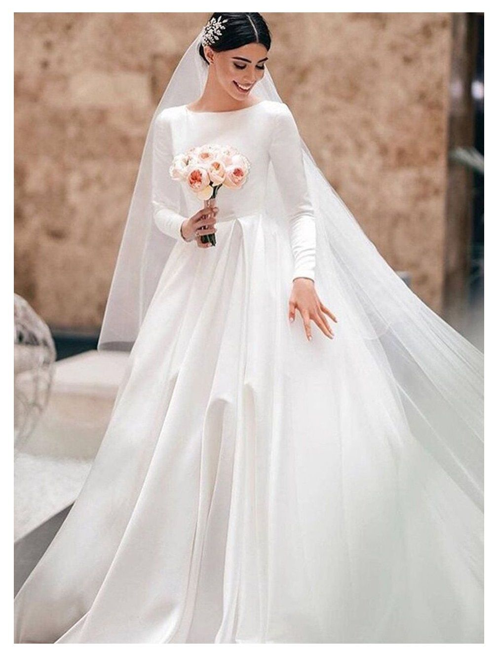 Modest A Line Long Sleeve Satin Bridal Dress 12277 Modest Wedding Gown Beautiful Dr In 2021 Indian Wedding Dress Wedding Dresses Simple Wedding Dresses Cinderella [ 1330 x 1009 Pixel ]