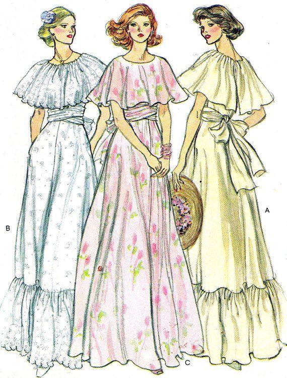 1970s Dress Pattern Vogue 9731 Capelet Dress by paneenjerez, $18.00 : Dresses we made for Ingrid's wedding -1978