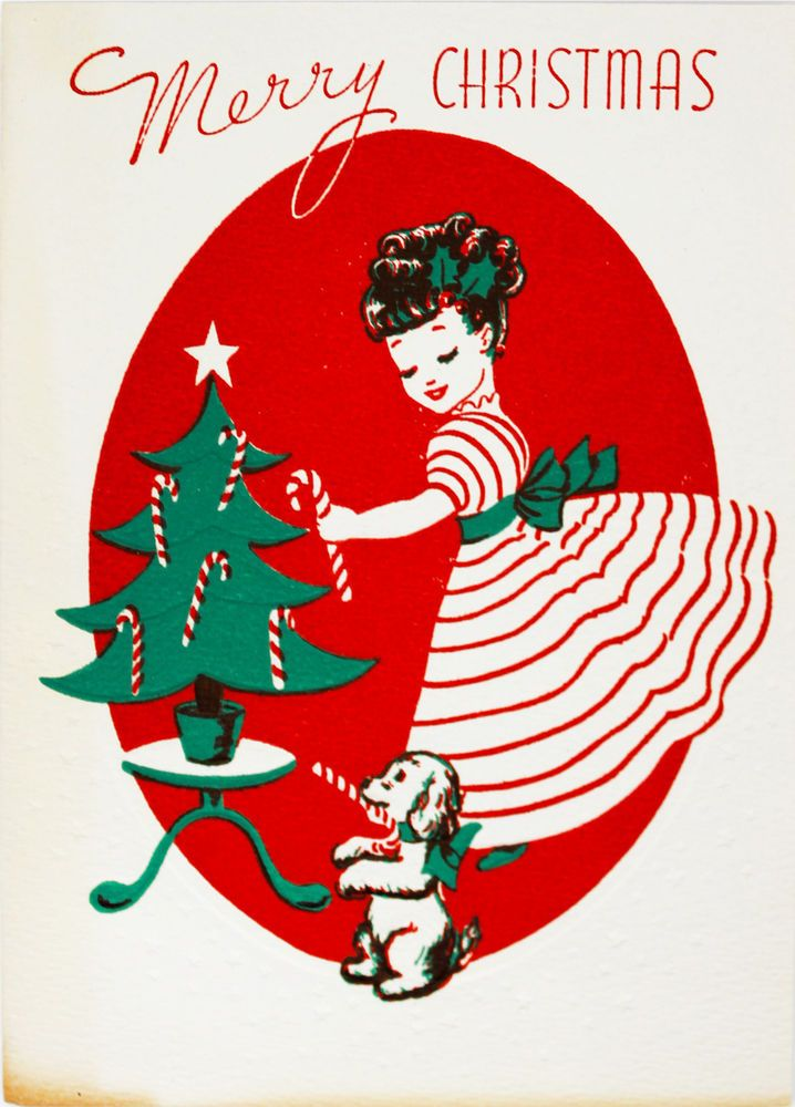 40's Pretty Girl Decorating Little Tree w. Her Cute Puppy Vintage Christmas Card
