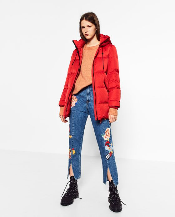 Zara Trf Oversized Quilted Feather Down Coat Down Coat Quilted Coat Coat