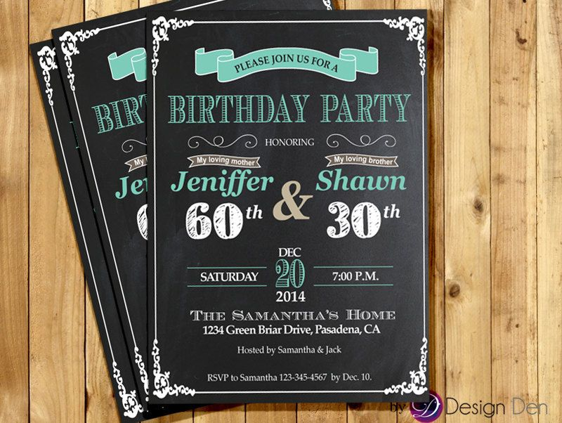 Adult Joint Birthday Invitation Party Cmbined