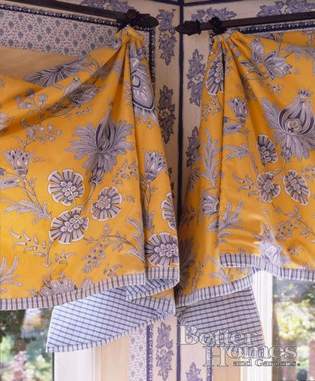 Fabric For Kitchen Curtain: Graceful Valances Especially How They Meet In The Corner