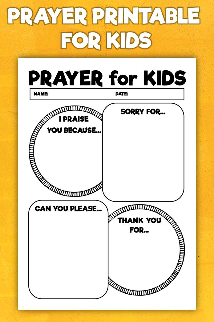 Printable Prayer Notes for Kids Children's Prayer