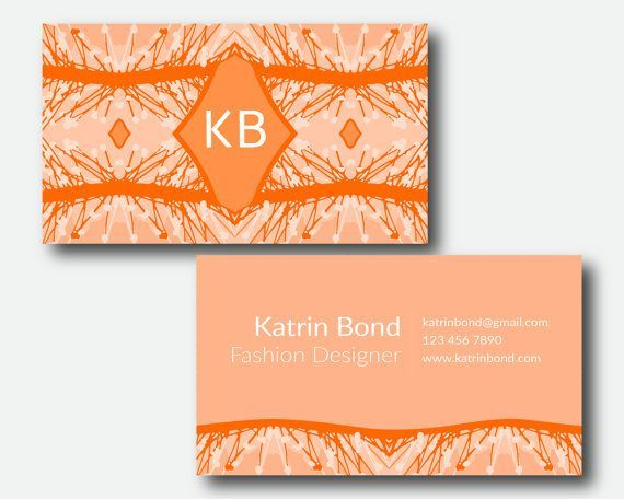Business Card Template, Calling Cards, Custom Business Cards, Unique Business Card Template, Business Card Design, Orange Business Card