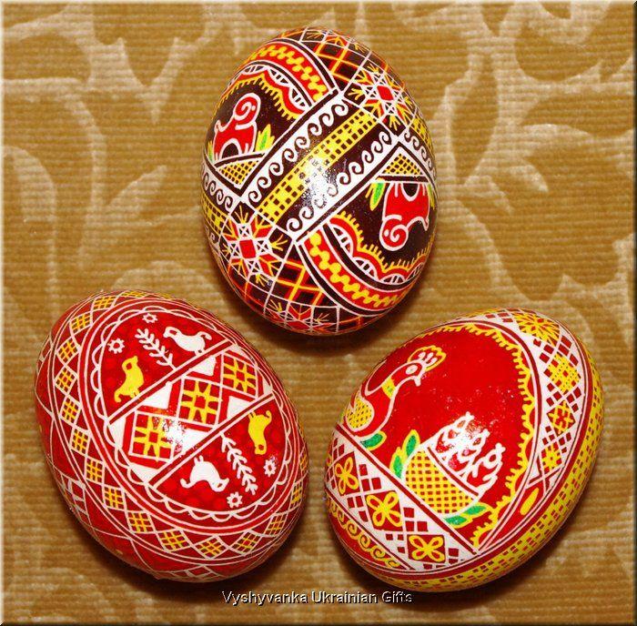 3 Hand Painted Real Easter Eggs Ukrainian Pysanky Rp2617
