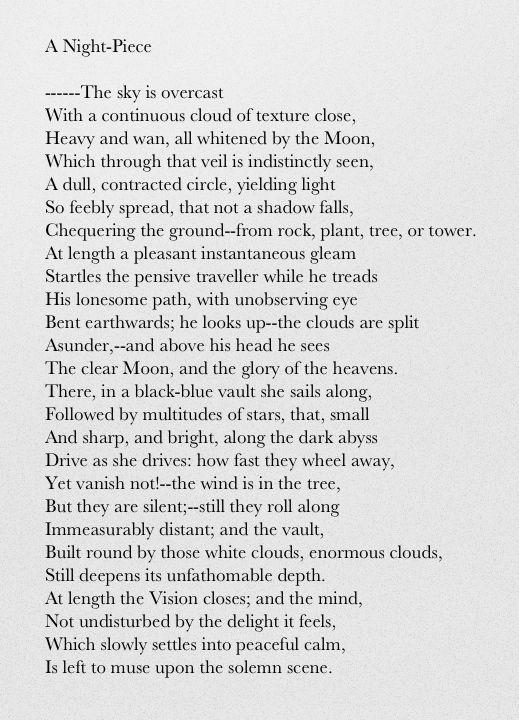 A Night Piece William Wordsworth Poetic Word Poetry Essay On